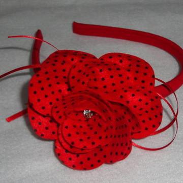 Tiara Vermelha poá preto (joaninha)