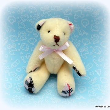 UrsinhA laço ROSA - ursinho de pelúcia para decoração bebê