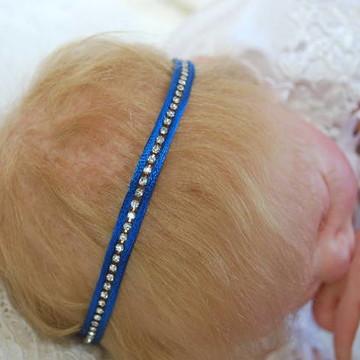 Faixa azul royal & strass prata