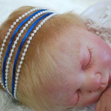 Faixa JASMINE azul royal & pérolas