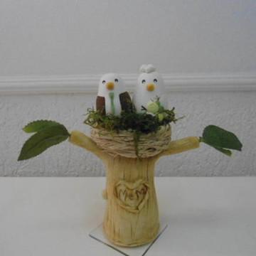 topo de bolo casal de passaros