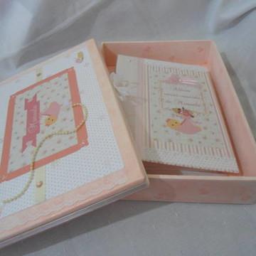 Kit Caixa E Álbum De Fotos Bebê