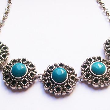 Colar Vintage Flowers Stone Turquoise