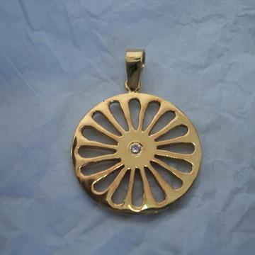 Pingente Bandeira Cigana prata com banho de ouro
