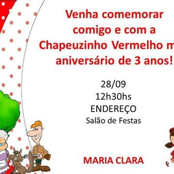 Convite Aniversário Chapéuzinho Vermelho