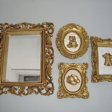Kit Moldura Ouro para Bebê