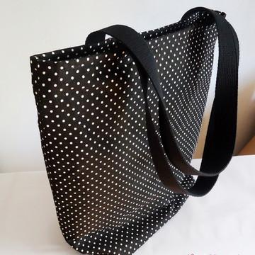 Bolsa Lona - Poá preto e branco