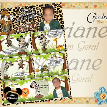Convite Gibi Mickey Safari