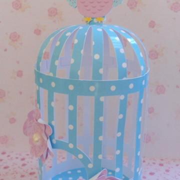 Gaiolinha decorativa azul poá