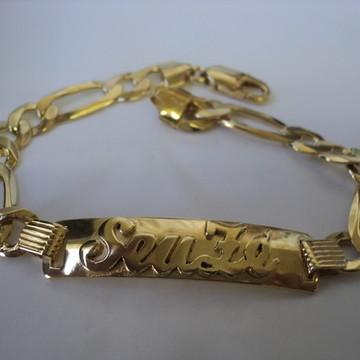 Pulseira Seu Zé em prata banhado em ouro