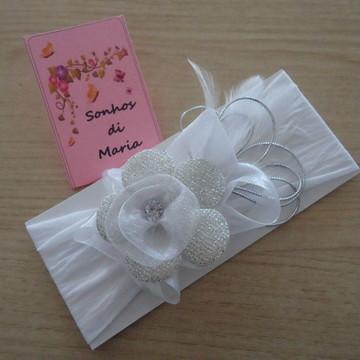 Faixa flor prata e branca