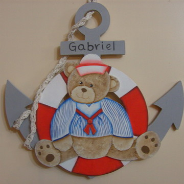 Placa de porta urso marinheiro