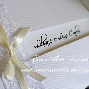 Convite Casamento Renda Branco