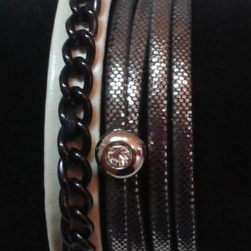 Kit pulseiras correntes e strass