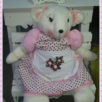 Ursa rosa com poá marrom