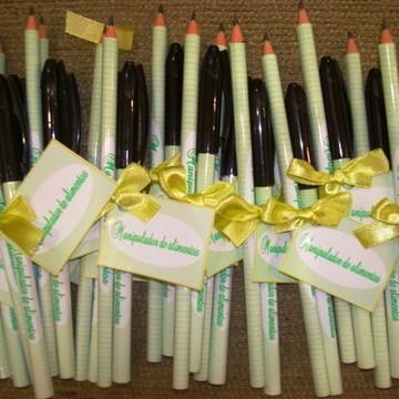 kit lápis e caneta personalizados