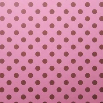 Papel Rosa de Bolinhas Marrons
