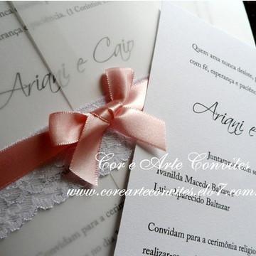 Convite Vintage Rosa