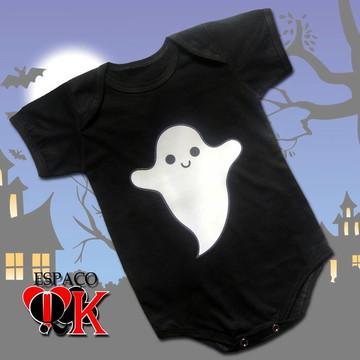 Body P/ Bebê Halloween Fantasminha