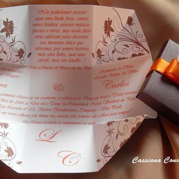Convite de Casamento Marrom e Laranja