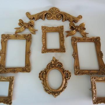 Porta Retratos/Espelhos- Ouro Velho