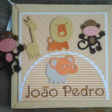 Livro Do Bebê personalizado para menino Safari neutro