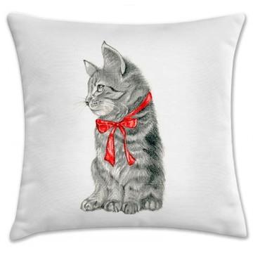 capa de almofada gato laço vermelho