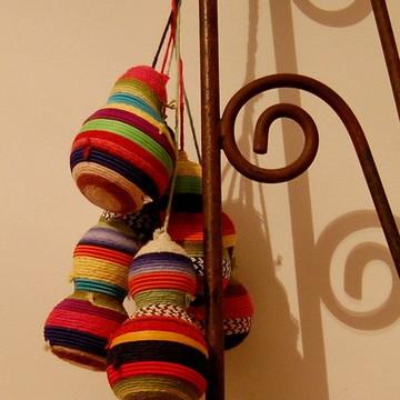 Cabaças decoradas - penca com seis