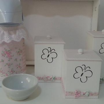 Kit Higiene Borboletas Rosa Poá