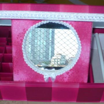 Caixa para maquiagem e jóias coruja pink