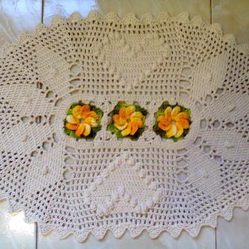 Tapete Oval em Crochê com Flores 2