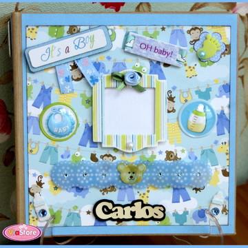 Mini Álbum Chipboard Bebê Menino