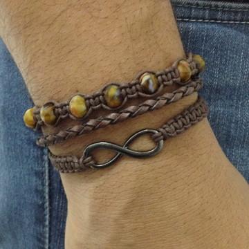 Kit pulseiras masculina com infinito