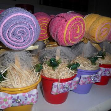 Centros de mesa pirulitos de toalha