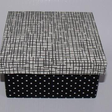Mini Caixa de tecido preto e branco