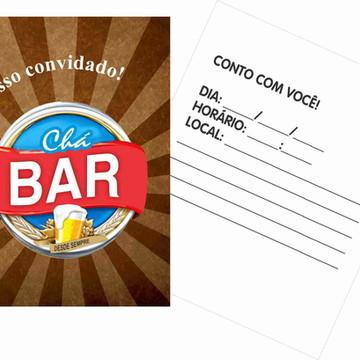 30 Convites Chá Bar - Papel Grosso