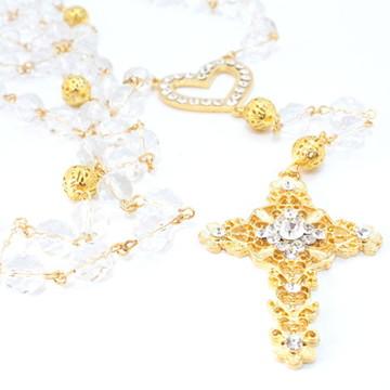 Terço Barroco - dourado e cristais