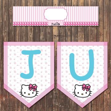 Kit Bandeirolas Impressas Hello Kitty