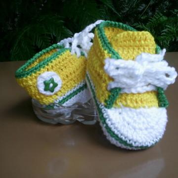 Tênis de Crochê- Verde/Amarelo