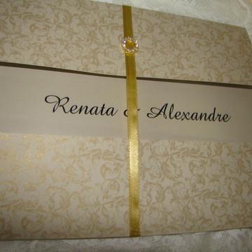 Convite de casamento dourado 1