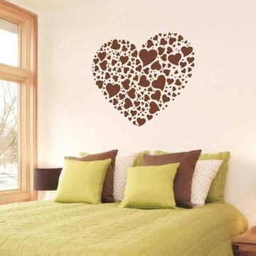 Adesivo de cabeceira de cama com corações