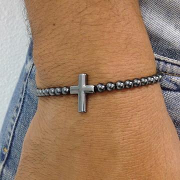 Pulseira masculina hematita crucifixo