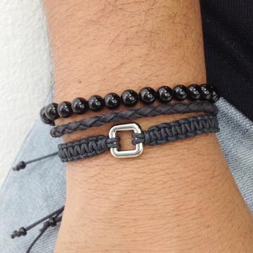 Kit pulseiras masculinas com pedra onix