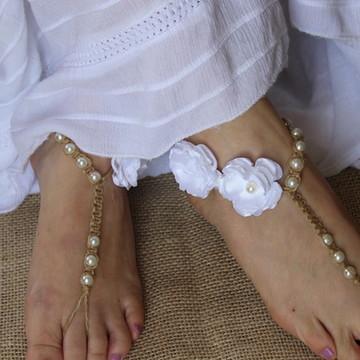 Sandália Pés Descalços Casamento Praia