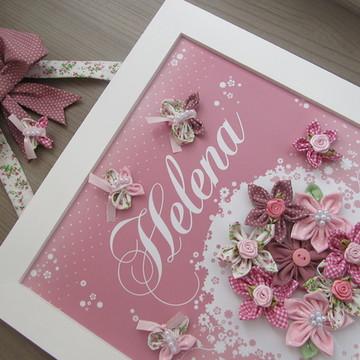 Enfeite de Porta Maternidade Flores Rosa