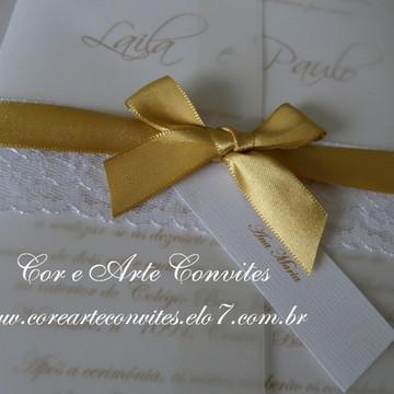 Convite Casamento Vintage dourado