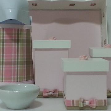 Kit Higiene Flor Xadrez Rosa bege