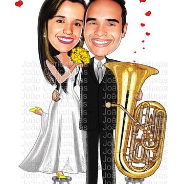 Caricatura digital de casamento-Tema músico