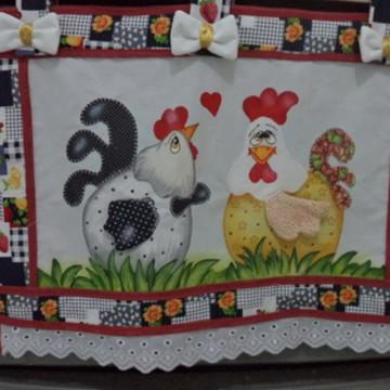 Cortina para fogão casal de galinha