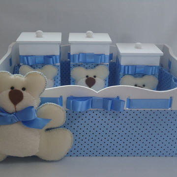 Kit Higiene Bebê Urso Azul com Poás